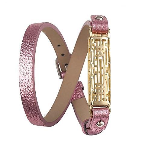 Wearlizer Bracelet de rechange en cuir pour Fitbit Flex 2,avec boîtier en métal, style classique, réglable, Pink, Gold Case