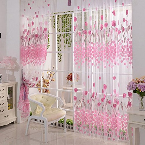 sypure (TM) 2pcs Rosa China Kids tul curtaintulip flores SHEER ventana cortinas para sala de estar