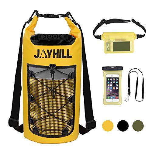 20L Wasserdichter Dry Bag 3 teiliger mit wasserdichte Handyhülle und Hüfttasche Schwimmender Wasserdichter Packsack Rucksack für Wassersport, Angeln, Bootfahren, Kajakfahren, Surfen, Rafting (Gelb)