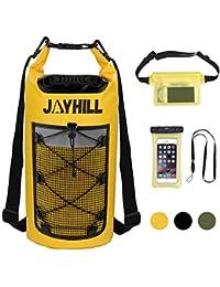 Hugool 20L Waterproof Dry Bag 3er Set mit Rucksackgurten und Mesh Vordertasche, Schwimmender Wasserdichter Rucksack für Wassersport, Angeln, Bootfahren, Kajakfahren, Surfen, Rafting