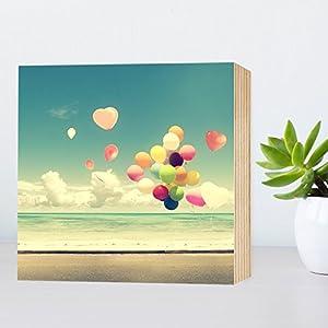 Lebensfreude - schönes Holzbild 15x15x2cm zum Hinstellen und Aufhängen, echter Fotodruck mit Spruch auf Holz -...