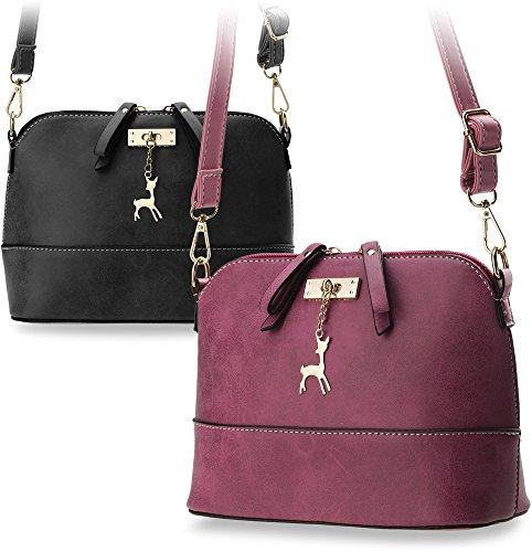 handliche Umhängetasche Schultertasche geschmackvolle Damentasche mit Reh - Anhänger Schwarz