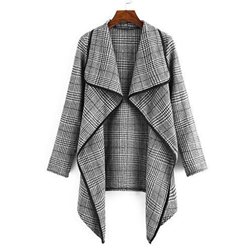 JMETRIC Mode Damen Plaid Print Top Schal Kragen Unregelmäßiger Rand Strickjacke Blazer