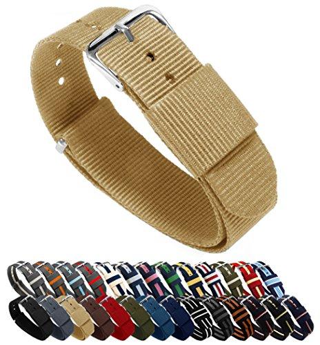 Uhrenarmbänder von Barton, Farb- und Längenauswahl (18 mm, 20 mm, 22 mm oder 24 mm), Bänder aus ballistischem Nylon, unisex, khaki, 18mm - Standard (10