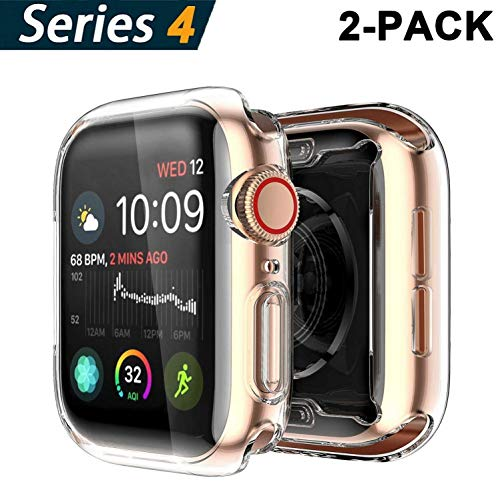 Yolin [2-Pack] Apple Watch Series 4 Schutzhülle, iwatch case Weiche Ultradünne TPU iwatch Displayschutz All-Around Hülle für Apple Watch Serie 4 44mm 4 Schutz