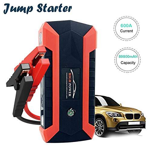 Avviatore di Emergenza per Auto, 89800mAh 600A Avviatore Batteria Auto(Fino a 6.0L a Gas o Diesel da 4.0L) 12V Jump Starter con 4 Porte USB, Torcia a LED