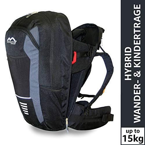 Montis Walk Hybrid Kraxe Kindertrage für beide Elternteile bis 15kg - geeignet als Wanderrucksack sowie als Rückentrage - geringes Eigengewicht mit Lendenstütze und Kraftübertragung auf die Hüfte