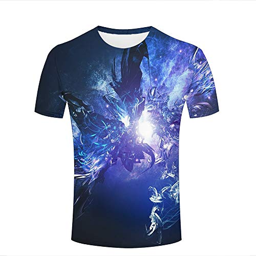 Mens 3D T-Shirt Print Blue Fire and Ice Phoenix Pattern Short Sleeve Casual Tees Fashion Couple Tees Tops XL
