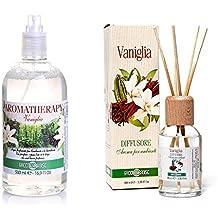 Acqua profumata per l'ambiente e per la biancheria e diffusore d'aroma con bastoncini VANIGLIA