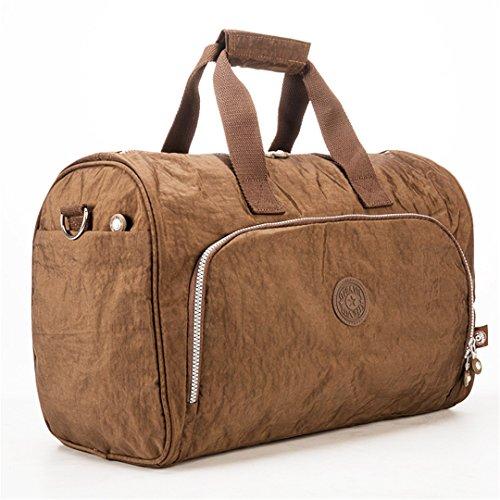 JOTHIN Nylon Handtasche große Kapazität Freizeit Fitness Reisegepäck Tasche kurze Reise Tasche 45X30X24cm(L*H*W) (Braun) Braun