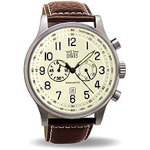 Davis 0453-Men's Vinatge Aviator Ø48MM Watch-Chronograph-Beige Dial-Waterresistant 50M-Brown Leather Strap
