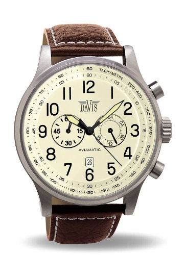 Davis 0453-Men's Vinatge Aviator Ø48MM Watch-Chronograph-Beige Dial-Waterresistant 50M-Brown Leather Strap