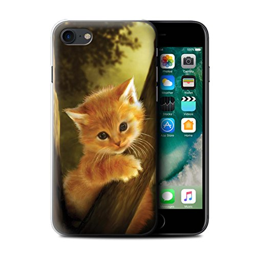 Officiel Elena Dudina Coque / Etui pour Apple iPhone 7 / Face à Face/Tigre Design / Les Animaux Collection Le Brave/Chaton