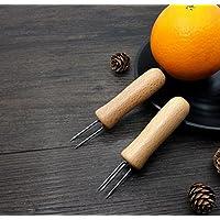 WEILIVE 2 Piezas/Set Mazorca de Maíz Tenedor Horquillas Mango de Madera Mini Maíz Tenedor