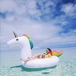 Unicornio Hinchable Colchonetas Piscina con 1 Porta Copa de Unicornio Gratis, Flotador Unicornio Piscina para Adultos 200 x 100 x 90 cm