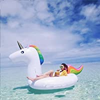 Unicornio Hinchable Colchonetas Piscina con 1 Porta Copa de Unicornio Gratis, Flotador Unicornio Piscina para