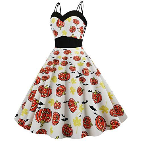 Kreuzritter Zombie Kostüm - MasteriOne Damen Kleid Halloween Retro Kostüm Kleider A-Linie Sling Schädel Gedruckt Swing Dress Kleid