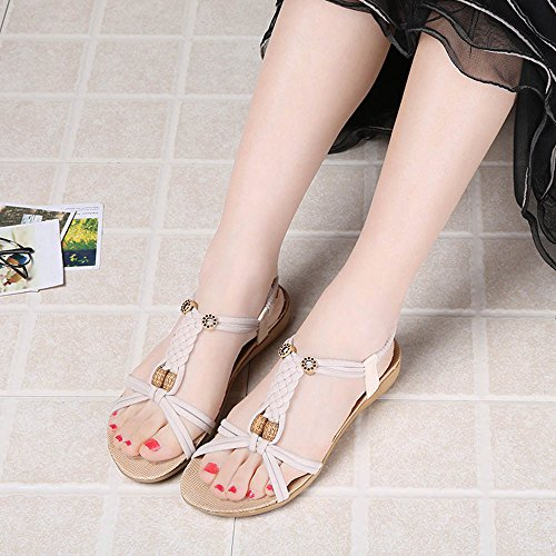 Amcool Bandage Bohemia Sandalen Bunt Mode Damen Flache Schuhe Weiß