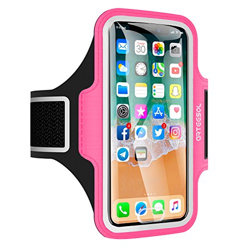 Arteesol Sport Armband geeignet für iPhone X / 8/7/6 / Plus / 5, Galaxy S8, LG, Moto, Handytasche Displayschutzfolie für Training, Rosa (Rosa Iphone 5s Armband)