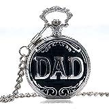 Dad Antik Poliert Silber & Schwarz Finish Retro/Vintage Case Herren Quarz-Taschenuhr Halskette–auf 81,3cm Zoll/80cm Kette