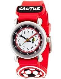 Cactus CAC-27-M07 - Reloj analógico infantil de cuarzo con correa roja - sumergible a 10 metros
