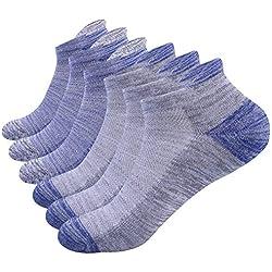 NAFFIC Chaussettes de sport hommes,running chaussettes de sport baskets chaussettes de randonnée en plein air chaussettes, respirantes, en coton évacuant l'humidité 6 paires (Bleu-gris)