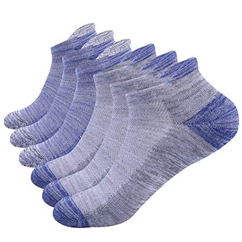 NAFFIC Calzini da uomo sportivi, da corsa calzini da trekking calzini sportivi da esterno calzini cotone traspirante calzini bassi sportivi in cotone traspirante anti umidità 6 paia (Blu grigio)