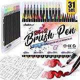 Amteker Brush Pen Set - [ 24+2+5 ] Pinselstifte Aquarellpinsel Handlettering Stifte für Bullet Journal, Kalligraphie Set, Geschenk, Manga Zeichnen Stifte
