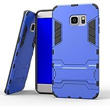 Samsung Galaxy S6 Edge Funda, YEESOON Híbrida Rugged Armor Case Choque Absorción Protección Dual Layer Durable Bumper Carcasa con pata de Cabra para Samsung Galaxy S6 Edge (Azul)