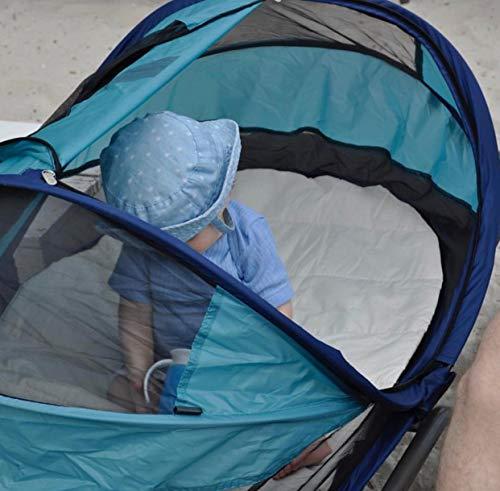 Deryan Travel-cot Baby Luxe Reisebettzelt inklusive Schlafmatte, selbstaufblasbarer Luftmatratze und Tragetasche mit Pop-Up innerhalb 2 Sekunden aufgebaut, ocean - 7