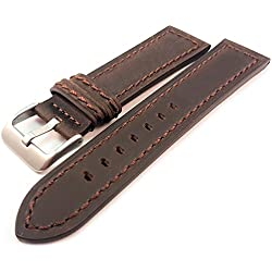 Dark Brown Genuine Suede Leather Watch Strap Band 20mm