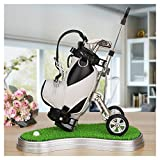 World 9.99 Mall Cadeau de Golf, Mini Office Golf Pen Holder avec 3 Sacs en Aluminium Alloy Golf Stylos (Noir + Blanc avec Support)