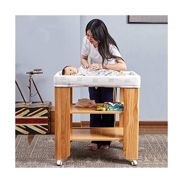 LXZ Baby Diaper Table, Solid Wood Baby Care Table, Bathing Table, Multi-functional Baby Changing Table, Newborn Touch Table LXZ In-line nut, the screw does not directly bite the wood, avoid material damage, more stable, more durable Every corner of the solid wood diaper table, we have been rounded to ensure that every touch of the baby is smooth and smooth. Thickened anti-collision layer design, soft and white protection, protect your baby from being bumped, safely strapped, and let hidden dangers 3