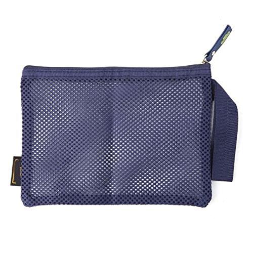 Faux-leder-wein (ukallaite Creative und modische Damen-Nylon Mesh tragbar Make-up case Kosmetiktasche Tasche Toiletry Organizer-Wein Rot Einheitsgröße dunkelblau)