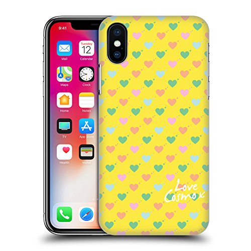 Official Cosmopolitan Mint Flowers Pastels Hard Back Case for Apple iPhone X Ditsy Hearts
