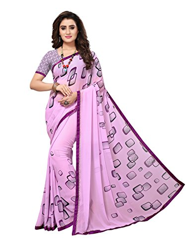 Varayu Women's Violet Georgette Printed and Border Work Casual wear Saree With...