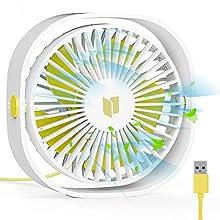 RATEL USB Ventilatore da Scrivania, 12,5 cm Mini Ventilatore da Tavolo con Cavo da 1,2 metri, Portatile e Personale per casa e Ufficio Silenzioso e Potente, Ti Fa Raffreddare in Estate Calda, Bianco