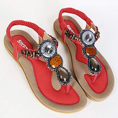 Chaussures Femme Ete 2016 Sandales Doux Fashion perlée clip Toe Flats Femmes Sandales Herringbone Bohême Rouge