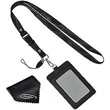 7a4e6a96a5 Porta Badge Clip Verticale PU Cuoio a Due Lati con Cordino del Collo  Staccabile e Panno
