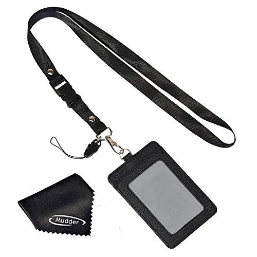 Doppelseitige vertikale PU Leder ID Abzeichen Halter Kartenhalter Ausweishülle mit abnehmbarem Hals Lanyard und Reinigungstuch