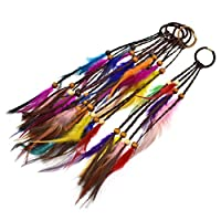 Hongma 4pcs Dreadlock Feather Hair Extension Hair Braiding Tight Ring Hair Decorations Braid Decor Girl Women Gift Random Color