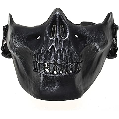 Calavera Esqueleto Máscara táctica Airsoft Paintball inferior protectora media cara máscara, plata