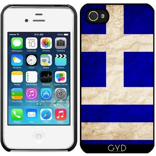 Leder Flip Case Tasche Hülle für Apple iPhone 5/5S - Griechenland-Flagge by WonderfulDreamPicture Starre Kunststoff