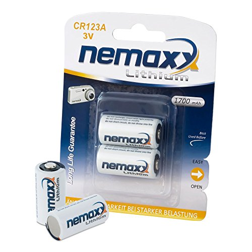 Alkaline Blister Pack (Nemaxx 3V Photo Lithium Batterie CR123A Photobatterie Fotobatterie mit 1700mAh  im 2er Pack (1x Blister))