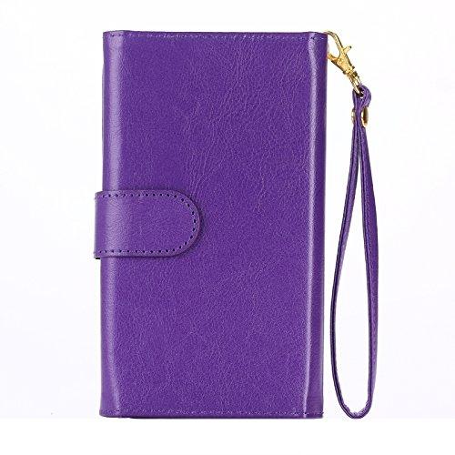 wkae Schutzhülle Case & Cover Universal fein Schaffell textur Leder Case mit Kreditkartenfächern & Wallet & lanyardfor iPhone 6Plus & 6splus/6/5/5S/5C/Samsung Galaxy/S 5/S IV/i9500 violett