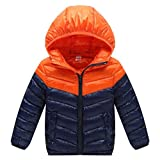 YYF Unisex Kids' Hooded Down Jacket Lightweight Cotton Slim Soft Short Outwear Zip Up Coat