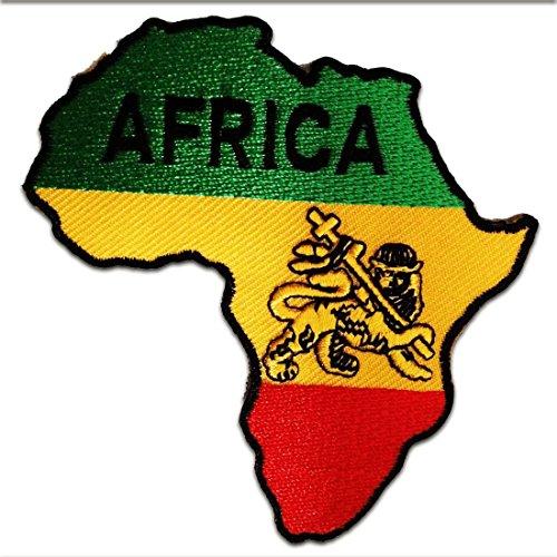 Afrika-patch (Aufnäher / Bügelbild - Afrika Flagge Fahne - gelb - 8,5 x 9 cm - Patch Aufbügler Applikationen zum aufbügeln Applikation Patches Flicken)