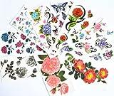 10pcs/package heißer Verkauf Tattoo-Aufkleber verschiedenen Ausführungen einschließlich rote Rosen / blauen Rosen / schwarze Rosen / bunte Blumen und Schmetterlinge / schwarze Blumen / Pfingstrose / etc.