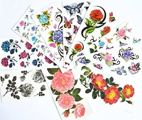 10pcs/package hot selling temporary tattoo stickers various designs including red roses/blue roses/black roses/colorful flowers and butterflies/black flowers/peony/etc. by Combine Temporary tattoos
