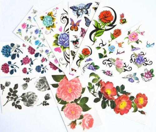 10pcs/package vendita caldo stickers tatuaggio temporaneo vari disegni tra cui rose rosse / blu / roses roses nero / fiori colorati e farfalle / fiori neri / peonia / etc .